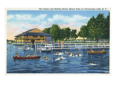 Chautauqua Lake, New York - Bemus Point, View of Casino and Beach Poster van  Lantern Press