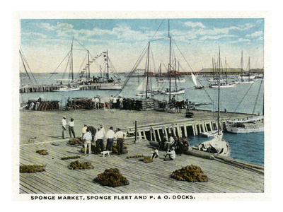 Key West, Florida - Sponge Market at P and O Docks Print by  Lantern Press