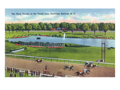 Saratoga Springs, New York - View of the Race Track Finish Line Posters van  Lantern Press