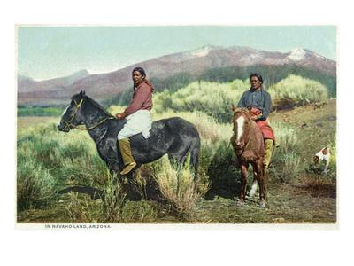 Arizona - Navajo Men on Horseback Prints by  Lantern Press