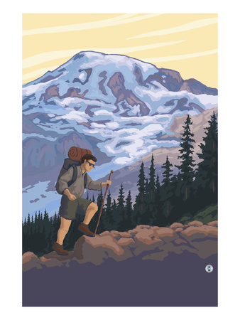 Hiker and Mountain Prints by  Lantern Press