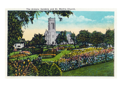 Minneapolis, Minnesota - Exterior View of St. Mark's Church from the Armory Gardens Print by  Lantern Press