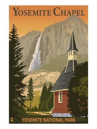 Yosemite Chapel and Yosemite Falls - California Print by  Lantern Press