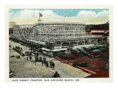 Old Orchard Beach, Maine - Jack Rabbit Rollercoaster Art by  Lantern Press