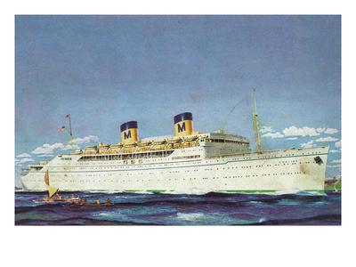 View of Matson Liner SS Lurline Affiches van  Lantern Press