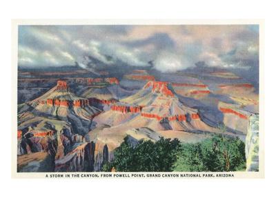 Grand Canyon Nat'l Park, Arizona - Powell Point View of a Canyon Storm Print by  Lantern Press