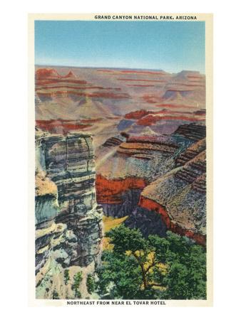 Grand Canyon Nat'l Park, Arizona - Northeastern View from Near El Tovar Hotel Poster by  Lantern Press