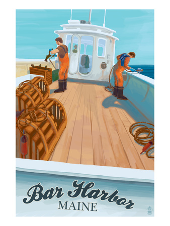 Bar Harbor, Maine - Lobster Boat Kunstdrucke von  Lantern Press