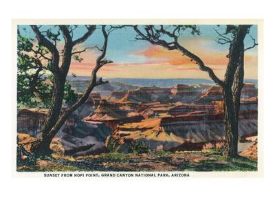 Grand Canyon Nat'l Park, Arizona - Sunset View from Hopi Point Art by  Lantern Press