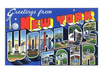 New York, New York - Large Letter Scenes, World's Fair Prints by  Lantern Press