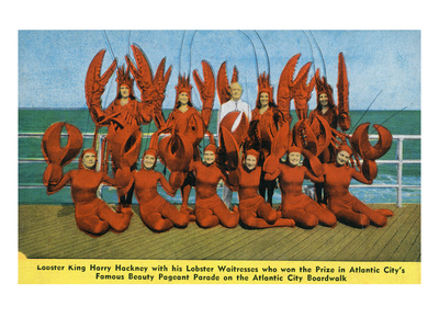 Atlantic City, New Jersey - Lobster King Harry Hackney with Lady Lobsters Print by  Lantern Press