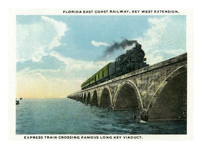 Key West, Florida - Long Key Viaduct Train Crossing Scene Posters by  Lantern Press