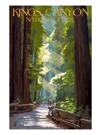 Kings Canyon National Park, California - Pathway and Hikers Art by  Lantern Press