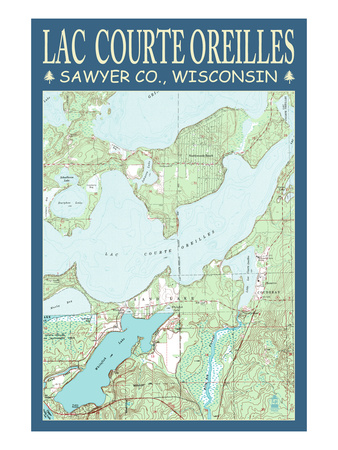Lac Courte Oreilles Chart - Sawyer County, Wisconsin Poster by  Lantern Press