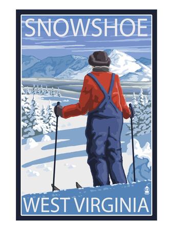 Snowshoe, West Virginia - Skier Admiring View Prints by  Lantern Press