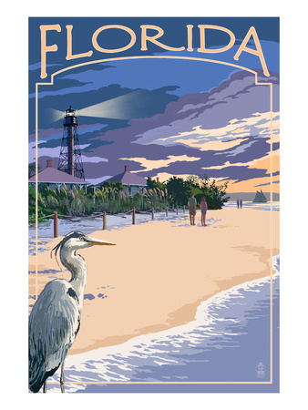 Florida - Lighthouse and Blue Heron Sunset Póster por  Lantern Press