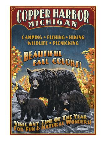 Copper Harbor, Michigan - Black Bears Prints by  Lantern Press