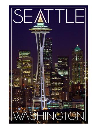 Seattle, Washington - Space Needle Christmas at Night Print by  Lantern Press
