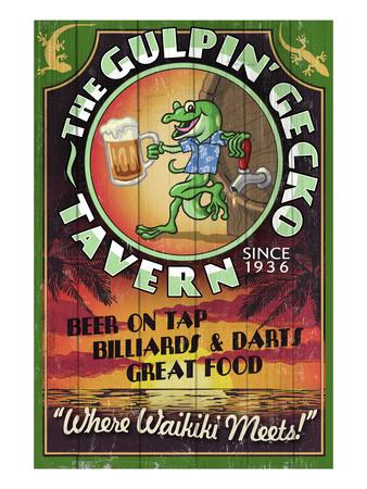 Gulpin' Gecko Tavern - Hawaii Posters by  Lantern Press