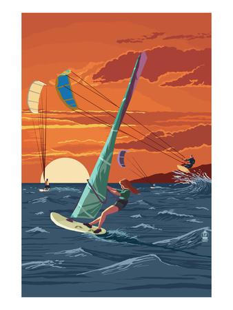 Windsurfers and Sunset Prints by  Lantern Press