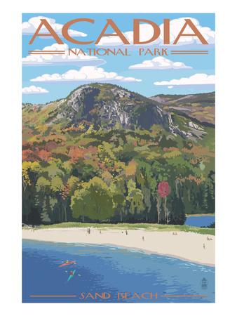 Acadia National Park, Maine - Sand Beach Scene Poster von  Lantern Press