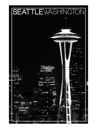 Seattle, Washington - Space Needle and Skyline at Night Prints by  Lantern Press