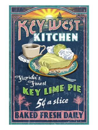Key West, Florida - Key Lime Pie Prints by  Lantern Press