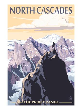 North Cascades, Washington - Mountain Peaks Prints by  Lantern Press