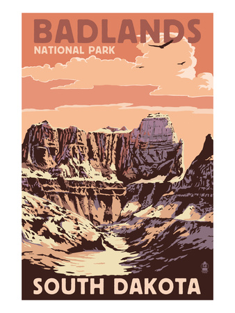Badlands National Park, South Dakota - Castle Rock Prints by  Lantern Press