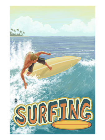 Surfer - Tropical Posters by  Lantern Press