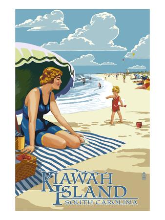 Woman on Beach - Kiawah Island, South Carolina Prints by  Lantern Press