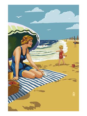 Beach Scene with Woman Prints by  Lantern Press