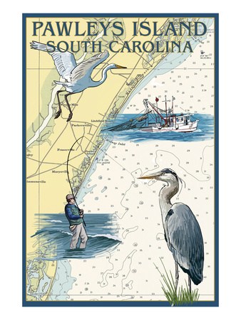 Pawleys Island, South Carolina - Nautical Chart Posters by  Lantern Press