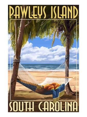 Pawleys Island, South Carolina - Palms and Hammock Prints by  Lantern Press