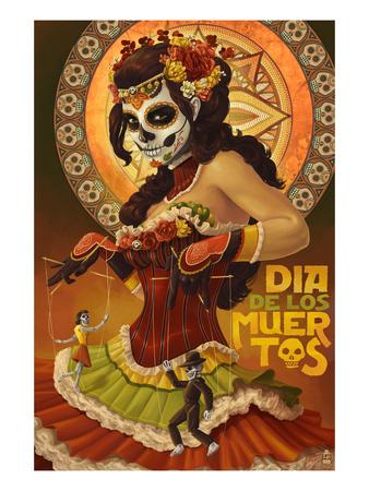 Dia De Los Muertos Marionettes Posters by  Lantern Press
