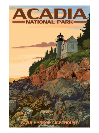 Acadia National Park, Maine - Bass Harbor Lighthouse Arte por  Lantern Press