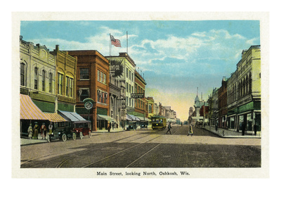 Oshkosh, Wisconsin - Main Street North Scene Prints by  Lantern Press
