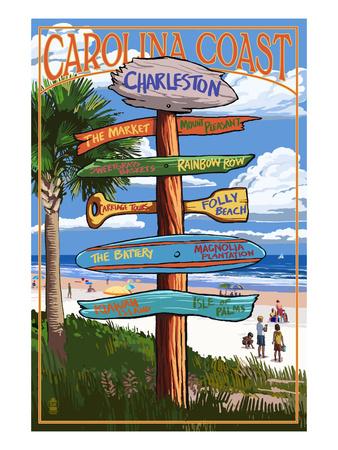 Charleston, South Carolina - Destination Signs Prints by  Lantern Press