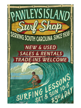 Pawleys Island, South Carolina - Surf Shop Prints by  Lantern Press