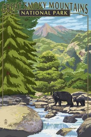 Leconte Creek and Bear Family - Great Smoky Mountains National Park, TN Prints by  Lantern Press