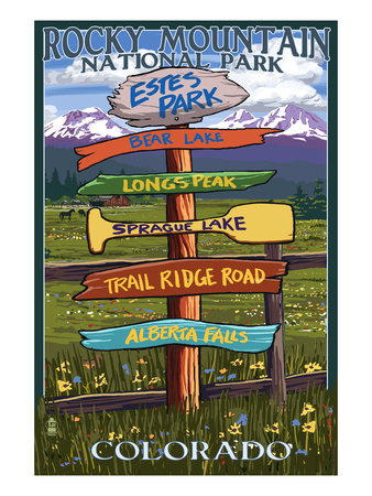 Estes Park, Colorado - Sign Destinations Posters by  Lantern Press