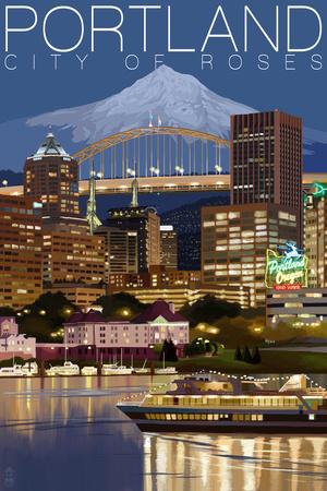 Portland, Oregon - Skyline at Night Prints by  Lantern Press