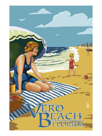 Woman and Beach Scene - Vero Beach, Florida Prints by  Lantern Press