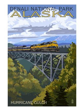 Denali National Park, Alaska - Hurricane Gulch Posters by  Lantern Press