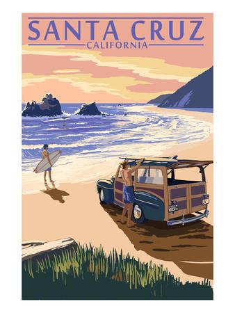 Santa Cruz, California - Woody on Beach Posters by  Lantern Press