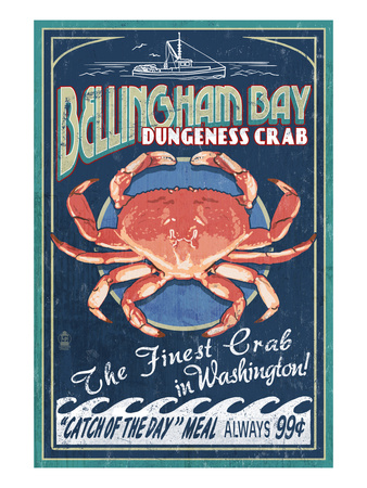 Bellingham, Washington - Dungeness Crab Poster by  Lantern Press