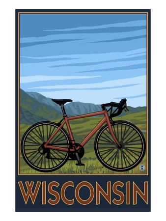 Mountain Bike Scene - Wisconsin Prints by  Lantern Press