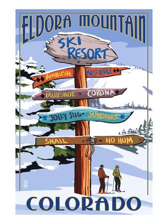 Eldora, Colorado - Sign Destinations Prints by  Lantern Press