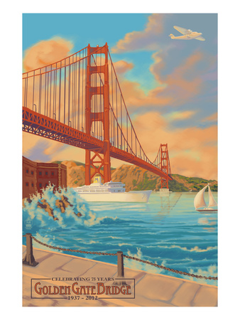 Golden Gate Bridge Sunset - 75th Anniversary - San Francisco, CA Arte por  Lantern Press