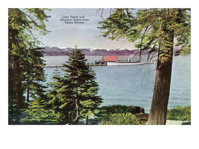 Lake Tahoe, California - Tahoe Tavern View of Lake and Tahoe Steamer Art by  Lantern Press